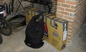 Bike boxed up for flight home